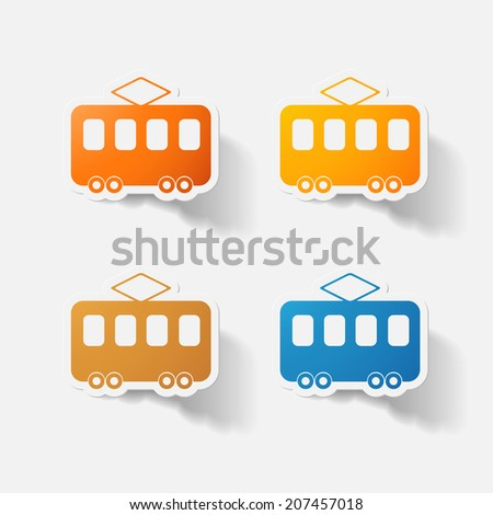 Paper clipped sticker: tram. Isolated illustration icon - stock photo