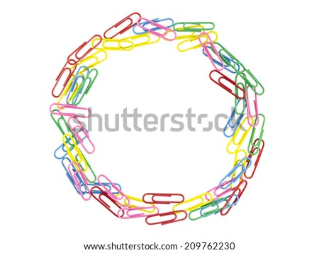 paper clips frame on white background - stock photo