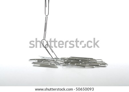 Paper clips in a bunch leading up to a chain.