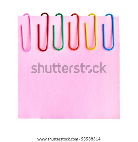 Paper clips on pink sheet isolated on white - stock photo