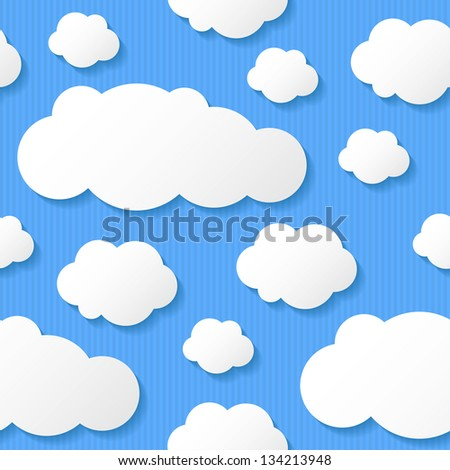 paper clouds on blue background, seamless pattern - stock photo