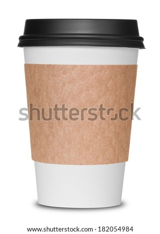 Paper coffee cup isolated on white - stock photo