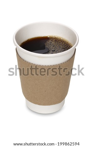 Paper Coffee Cup Isolated With Clipping Path - stock photo