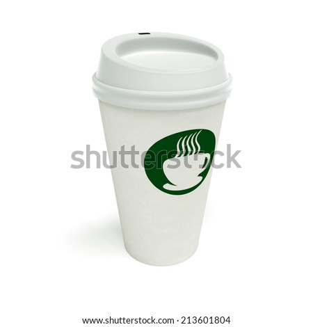 Paper coffee cup on a white background with generic coffee logo like Starbucks. - stock photo
