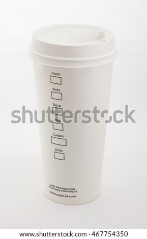 Paper coffee cup on white