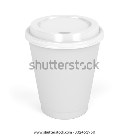 Paper coffee cup on white background - stock photo