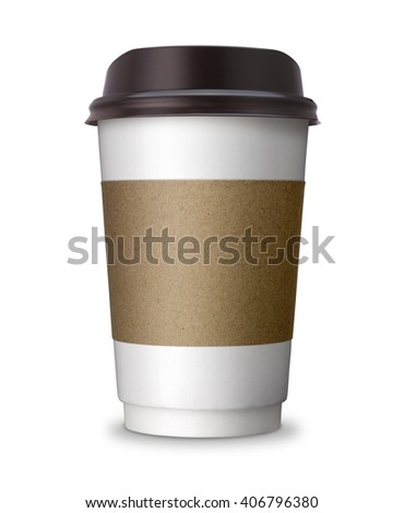 Paper Coffee cup, take away, take out or take home Paper cup with blank copy space, ideal for hot drink, coffee, tea, chocolate, beverage isolated on white background with clip path. - stock photo