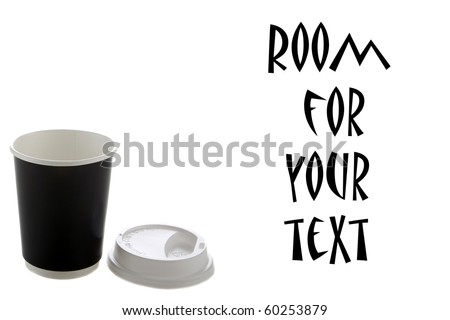 paper coffee cup with plastic top isolated on white - stock photo
