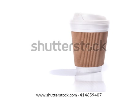 Paper coffee cup with sleeve, isolated on white background