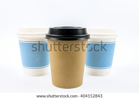 Paper Coffee Cups Isolated on White Background.