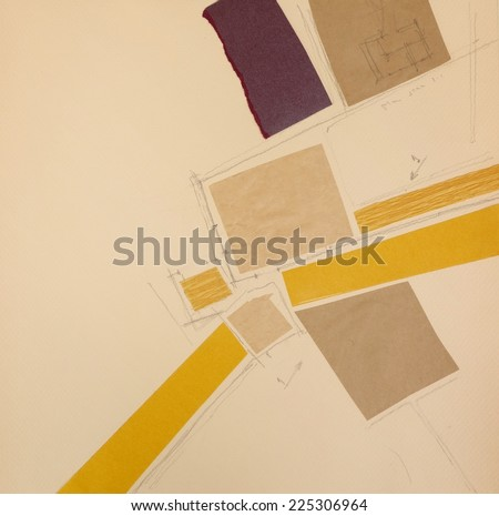 Paper Collage Artwork. Cut and pasted colored paper and pencil drawing on paper. Architectural abstract painting. Made myself. - stock photo