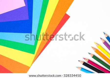 paper color pencil crayon multicolor on white background - stock photo