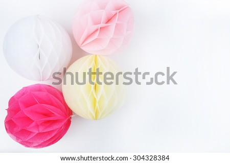 Paper colorful balls. Table view and mock up background. Wedding invitation - stock photo