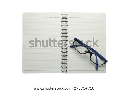 paper concept with glasses and pencil on white background,isolate
