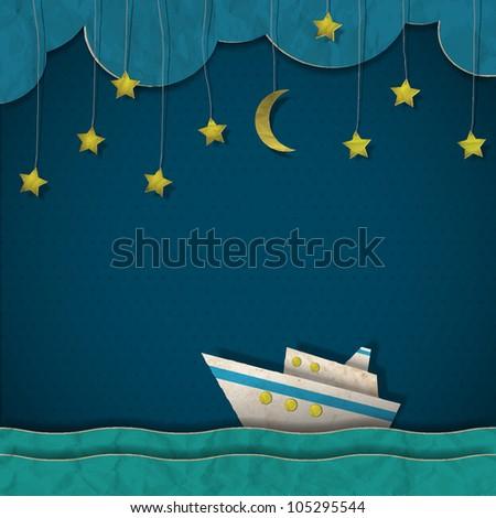 Paper cruise liner at night.  Raster version - stock photo
