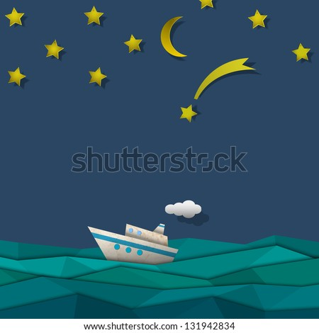 Paper cruise liner.  Raster version - stock photo