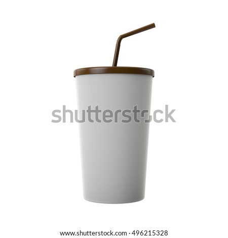 Paper cup and lid template for soda or cold beverage with drinking straw, isolated on white background. 3D Render.