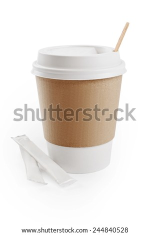 Paper cup and sugar isolated on white - stock photo