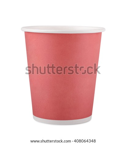 paper cup for drinks, disposable tableware isolated on white
