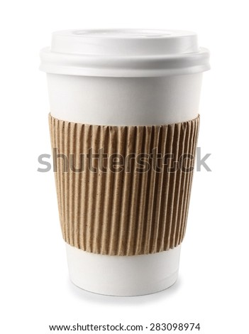 Paper cup isolated on white - stock photo