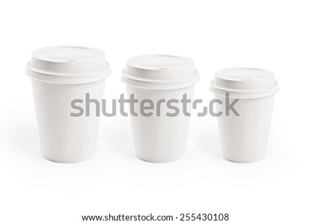 Paper cup isolated on white. Coffee to go. - stock photo