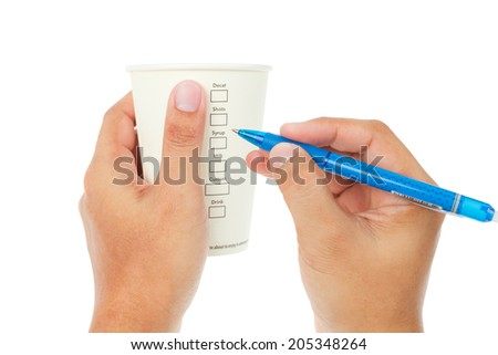 Paper cup of coffee and check menu on white background