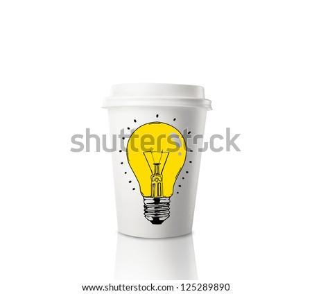Paper cup of coffee and drawing lamp - stock photo