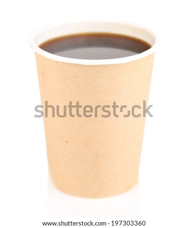 Paper cup of coffee, isolated on white
