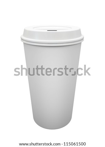 Paper cup of coffee isolated on white background illustration - stock photo