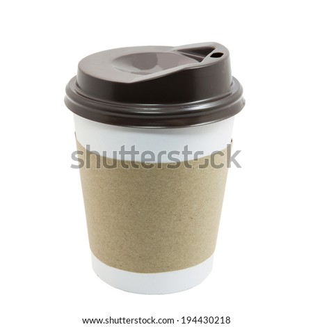 Paper cup of coffee isolated on white with clipping path  - stock photo