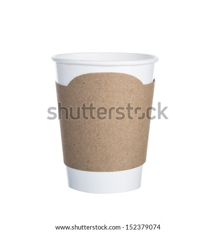 Paper cup of coffee Isolated white background - stock photo