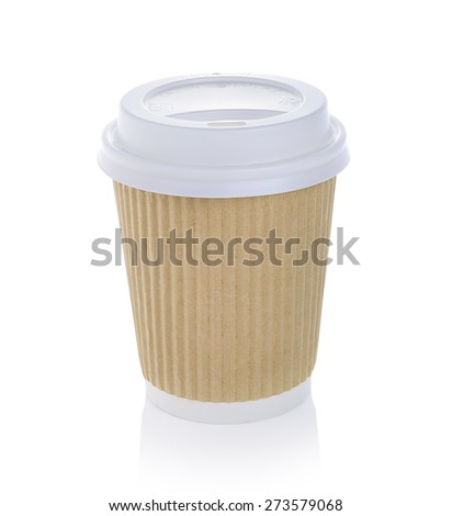 Paper cup of hot coffee Isolated white background