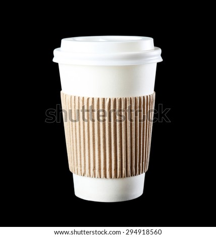 Paper cup on black background