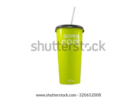 Paper cup on isolated white background with path - stock photo