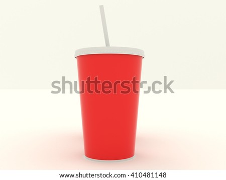 Paper cup set with red blank for design. Isolated on background. High resolution 3d illustration