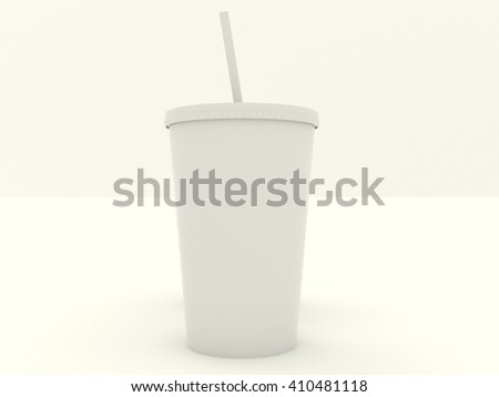 Paper cup set with white blank for design. Isolated on background. High resolution 3d illustration