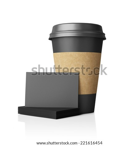 Paper cup with blank business cards - stock photo