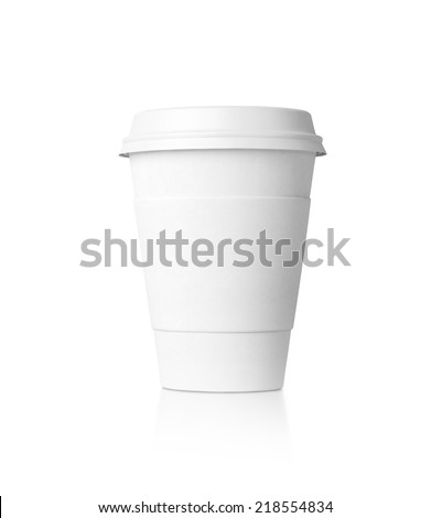 Paper cup with caps isolated on white.  - stock photo