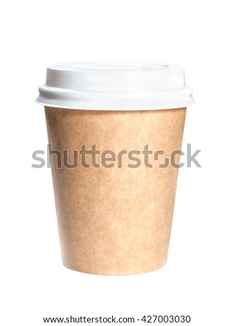 Paper cup with white plastic cap isolated on white background.