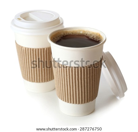 Paper cups of coffee isolated on white - stock photo
