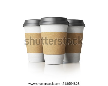 Paper cups with caps isolated - stock photo