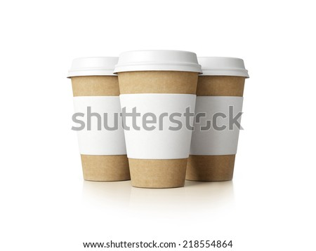 Paper cups with caps isolated on white.  - stock photo