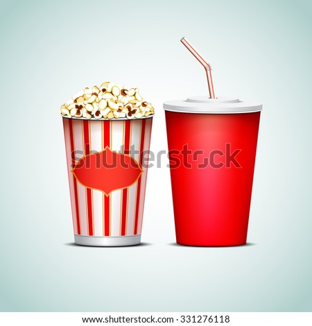 Paper cups with drink and popcorn.