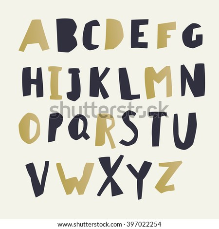 Paper Cut Alphabet Black Gold Letters Stock Vector 395299069 ...