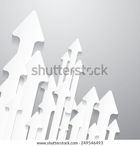 Paper Cut Arrows on Grey Background