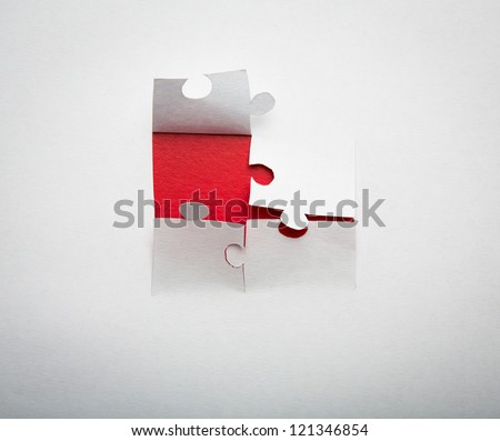 Paper cut of  Puzzle background with copy space for text or design - stock photo