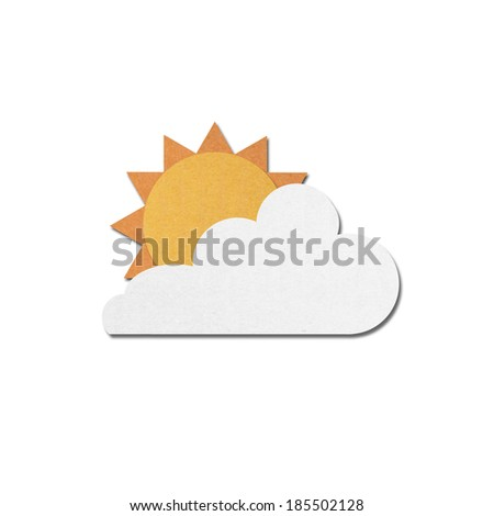 paper cut of sun with clouds on white sky - stock photo