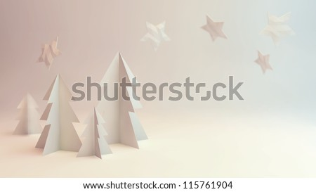 Paper cut out 3D rendering winter scene illustration with trees and stars - stock photo