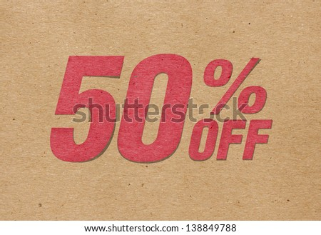 Paper cut text Sale 50 percent - stock photo