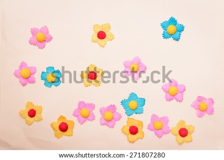 Paper cutting Flower on Old Paper background